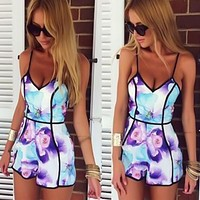 Sexy V-Neck Flower Print Strap Jumpsuits Rompers