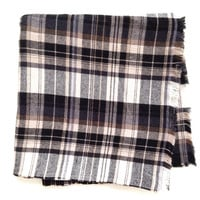 Navy Blue, Brown, Cream Plaid Flannel Blanket Scarf \\ tartan plaid cotton flannel scarf