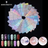 24 Sheets/set Nail Art  Hollow Laser Sticker Stencil Gel Polish Nail Vinyl Tip Transfer Guide Template Nail Decals Kit