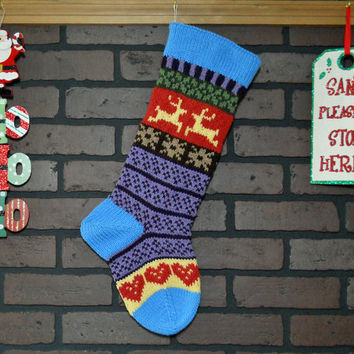Striped Christmas Stocking, Hand Knit with Blue Cuff, Yellow Reindeer and Red Hearts, can be personalized, Wedding Gift, Housewarming Gift