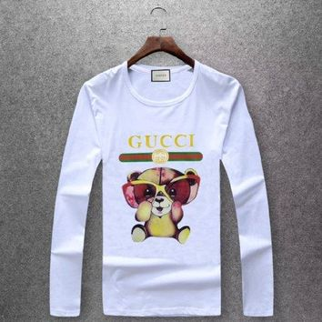 GUCCI  Round collar long sleeved T - shirt