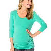 3/4 Sleeve Scoop Neck Side Ruched Maternity Top