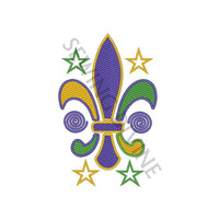 MARDI GRAS Fleur de lis CHEVRON Stitch Embroidery Design 2 Sizes Instant Download