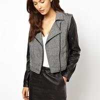 Greylin Monroe Motorcycle Jacket with Faux Leather Sleeves - Black