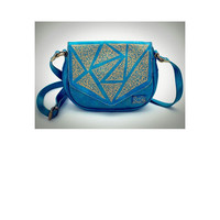 Metallic Turquoise Geometric Crossbody Bag