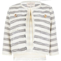 River Island Womens Cream stripe fitted boxy boucle jacket