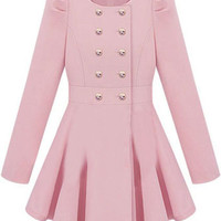 ROMWE   Double-breasted Skirt Hem Design Pink Trench-coat  