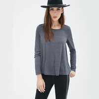 Gray Long Sleeve Pleated T-Shirt