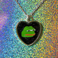 Pepe the Frog Glitter Heart Necklace