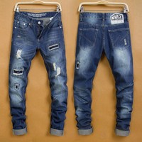 Ripped Holes Slim Pants Jeans [6541766915]