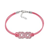 Yours for Infinity Silver-Plated Pink Crystal Double Infinity Leather Bracelet