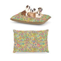 "Kess InHouse Julia Grifol ""My Butterflies and Flowers in Green"" Rainbow Floral Dog Bed: Pet Supplies"