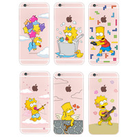 For iPhone 4S 5S 6S 6Plus 7Plus 7 Samsung Galaxy Cute Simpson s Funny Play Children Soft Silicon Transparent Printed Phone Case