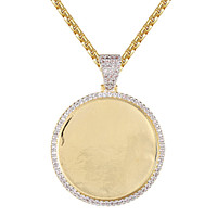Custom Picture Memory Round Shape One Row Icy Pendant Chain
