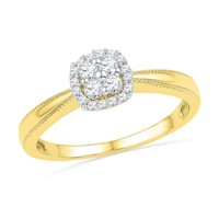 Cushion Framed Diamond Fashion Ring 1/5ctw