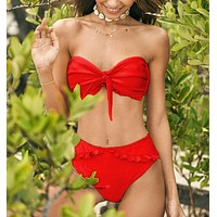 Fashion Summer New Solid Color Knot Beach Wading Sports Swimsuit Strapless Two Piece Bikini Red