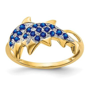 14K Yellow Gold Gold w/ Rhodium Detail Diamond & Blue Sapphire Dolphins Ring
