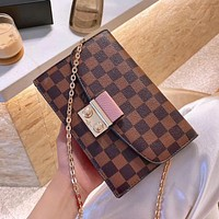 LV Classic Checkerboard Women's Wild Chain Bag Shoulder Bag Crossbody Bag
