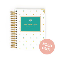 2016 Daily Simplified Planner in Gold Pineapples by Emily Ley