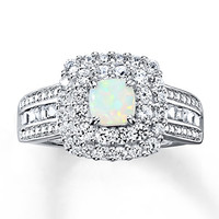 Lab-Created Opal Ring Lab-Created Sapphires Sterling Silver