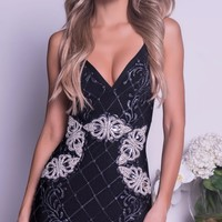 SELAY PAINTED BANDAGE DRESS IN BLACK