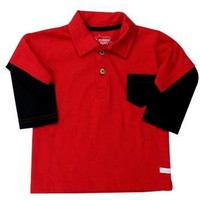 Rugged Butts-Layered Polo Shirt, Red-Black