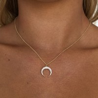 Crystal Crescent Pendant Necklace