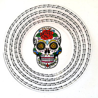 Sugar Skull Day of the Dead Dia De Los Muertos Hand Painted Glass Dinner Plate