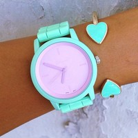 Lanie Crush Stack - Pastel Mint Watch & Heart Bangle Stack