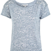 Lace Burnout Crop Tee - Tops  - Apparel