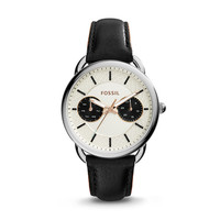 Tailor Multifunction Black Leather Watch