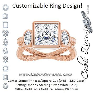 Cubic Zirconia Engagement Ring- The a'Malisa (Customizable 3-stone Princess/Square Cut Design with 2 Oval Cut Side Stones and Wide, Bubble-Bead Split-Band)