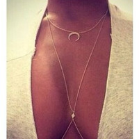 Set auger moon sexy women plated gold Plated long Chains necklaces pendants body jewelry  b4xr