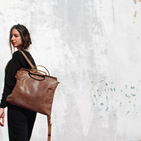 Leather backpack bag/brown leather bag/tote bag/handmade/gift/women bag