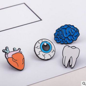 Korean version of the jewelry color drops of human body brooches brain eyes tooth brooch accessories wholesale  Pin Badge
