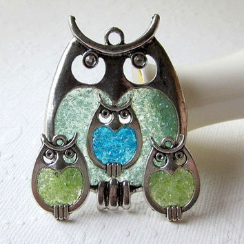 New Mom Gift New Mom Present New Mom Necklace New Mom Jewelry Pregnancy Gift Stained Glass Owl New Mother Gift Birthstone Set Aquamarine