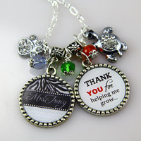 Teachers Necklace,Thank you for helping me Grom,Graduation Gifts-END of School,Personzlied Teacher Gift