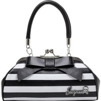 Stripe Black Floozy White Handbag | Sourpuss - Tragic Beautiful buy online from Australia
