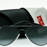 RAY-BAN POLARIZED PILOT AVIATOR RB3558 002/T3 Black-Grey Gradient 58mm AUTHENTIC