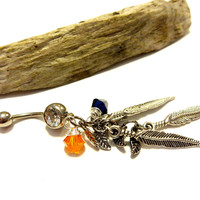 Bohemian Feather Dangle Belly Button Ring Made With Swarovski Crystal Element Beads
