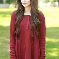 Fireside Maroon Henley Top