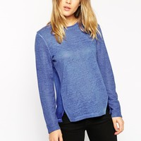 ASOS Top in Textured Fabric Woven Mix with Oil Wash