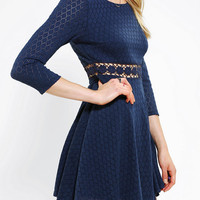 Pins And Needles Knit Crochet-Waist Dress