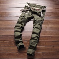 Hot Sale Slim Stretch Denim Green Mosaic Fashion Men's Fashion Pants Skinny Pants [6541761411]