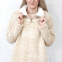 Cozy Up 2-Tone Sherpa Zipper Pullover {Beige}
