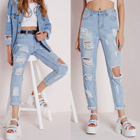Sexy Cut Out Straight Beggar Jeans