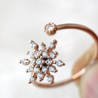 Snowflake Ring Snow Adjustable Open Wrap Jewelry Frozen Gift Idea Color Select