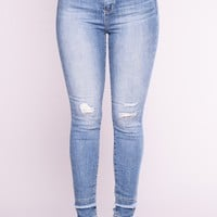 Are You Down For Me Skinny Jeans - Medium Blue Wash