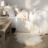 IKEA 100% Genuine Sheepskin Rug 2X3 White Ivory Throw Chair Cover
