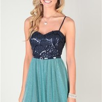 Tank Strap Dress with Glitter Bodice and Circle Skirt